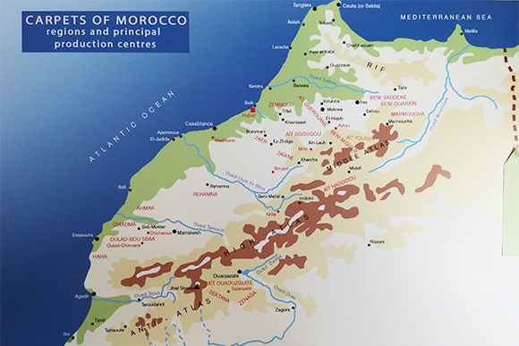 Map of Moroccan rug weaving areas